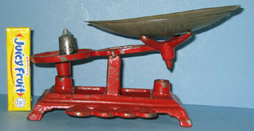 OLD CAST IRON TOY BALANCE SCALE * 2 1/4  PAN + 1 ORIG WT ***ON SALE*** CI 406