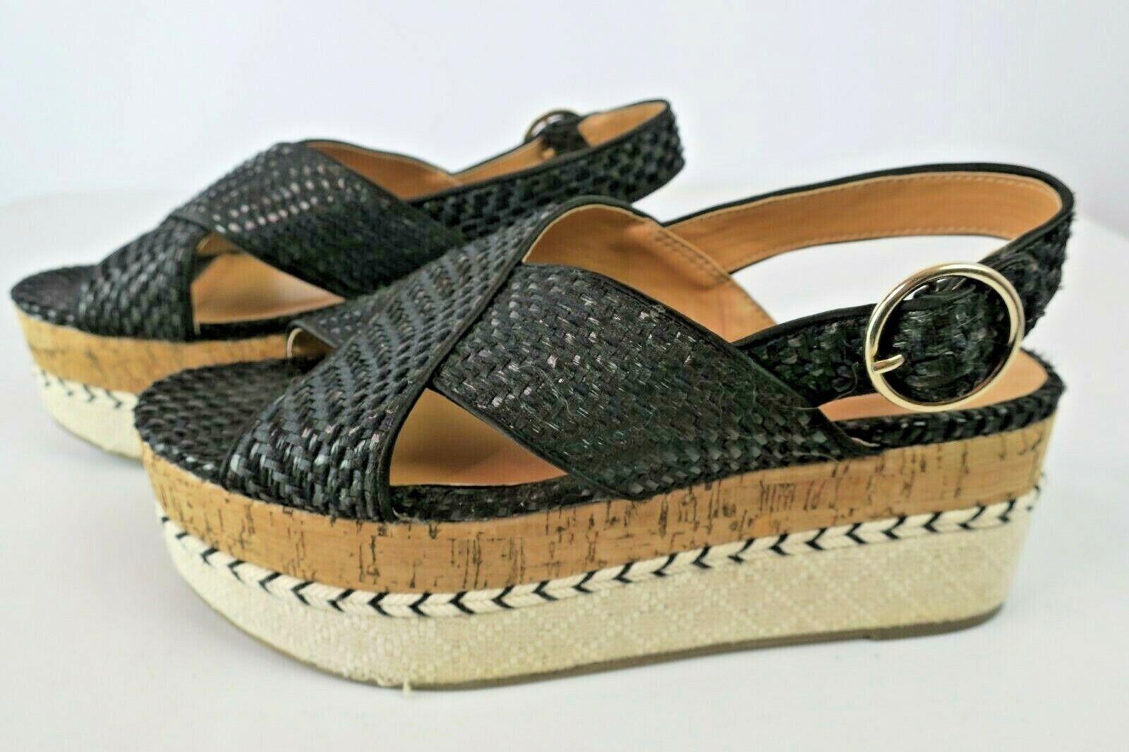 Zara Trafaluc Black Woven Cork Contrast Wedge Platform Sandals Right 39 Left 38