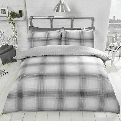 Flynn Tartan Check Stripes Reversible Duvet Covers Quilt Cover Bed Bedding Sets