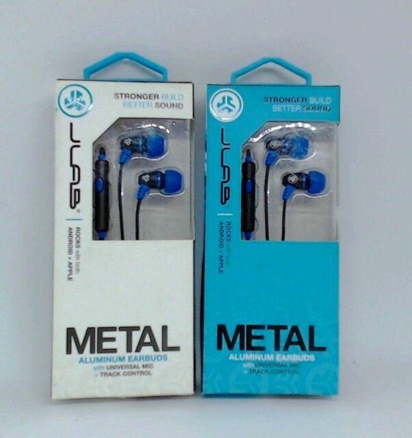 b9bacba9c69 #520 JLab Metal Aluminum Earbuds - Apple iPhone & Android Smartphone Blue  Black