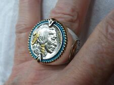 Man  BUFFALO NICKEL  Men  GOLD/Sterling Ring Size 11 MINT Not Scrap