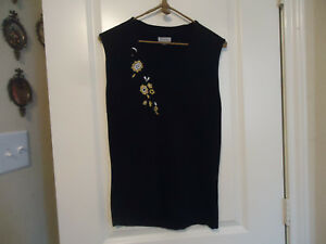 Principe-Women-039-s-Size-L-Sleeveless-Black-top-w-Embroidered-Flowers-Silk-Blend