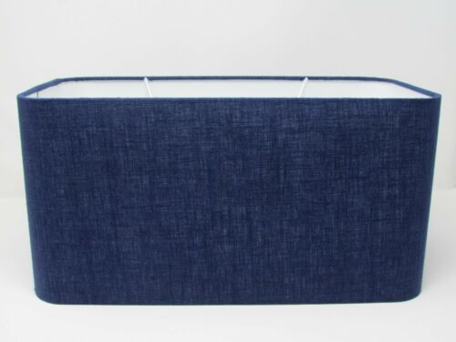 Rounded Rectangle 100/% Linen Fabric Lampshade Denim Blue Choice of Colours