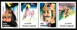 Dracula-Vlad-the-Impaler-mnh-strip-2-stamps-2-labels-1997-Romania-4158a-Europa