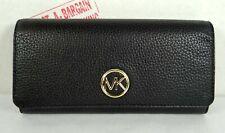 Michael Kors Fulton Black Leather Flap CONTINENTAL Wallet 35FOGFTE1L