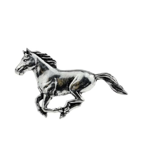 Galloping Horse Pewter Lapel Pin Badge//Brooch Stallion Ford Mustang BNWT//NEW Gif