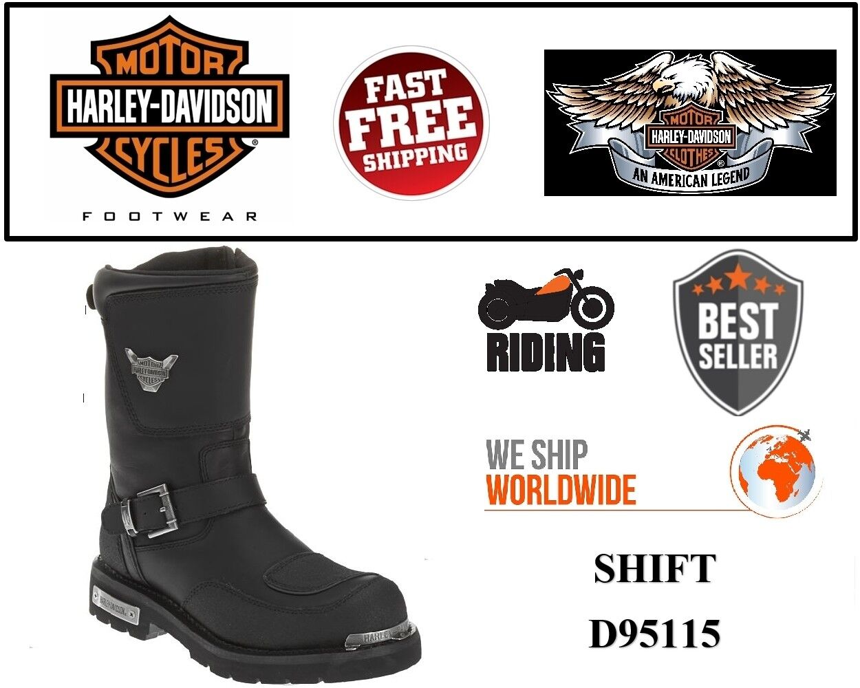 Harley-Davidson® D95115 Men's Shift 9  Motorcycle Riding Black Leather Boots