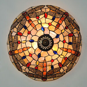 Image is loading Vintage-Tiffany-Dragonfly-Stained-Glass-Ceiling-Light -Hanging-