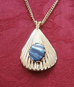 Details about Aphrodite Necklace Gold Tone, Paua Shell Sea Opal Gemstone  Cancer Birthstone NOS