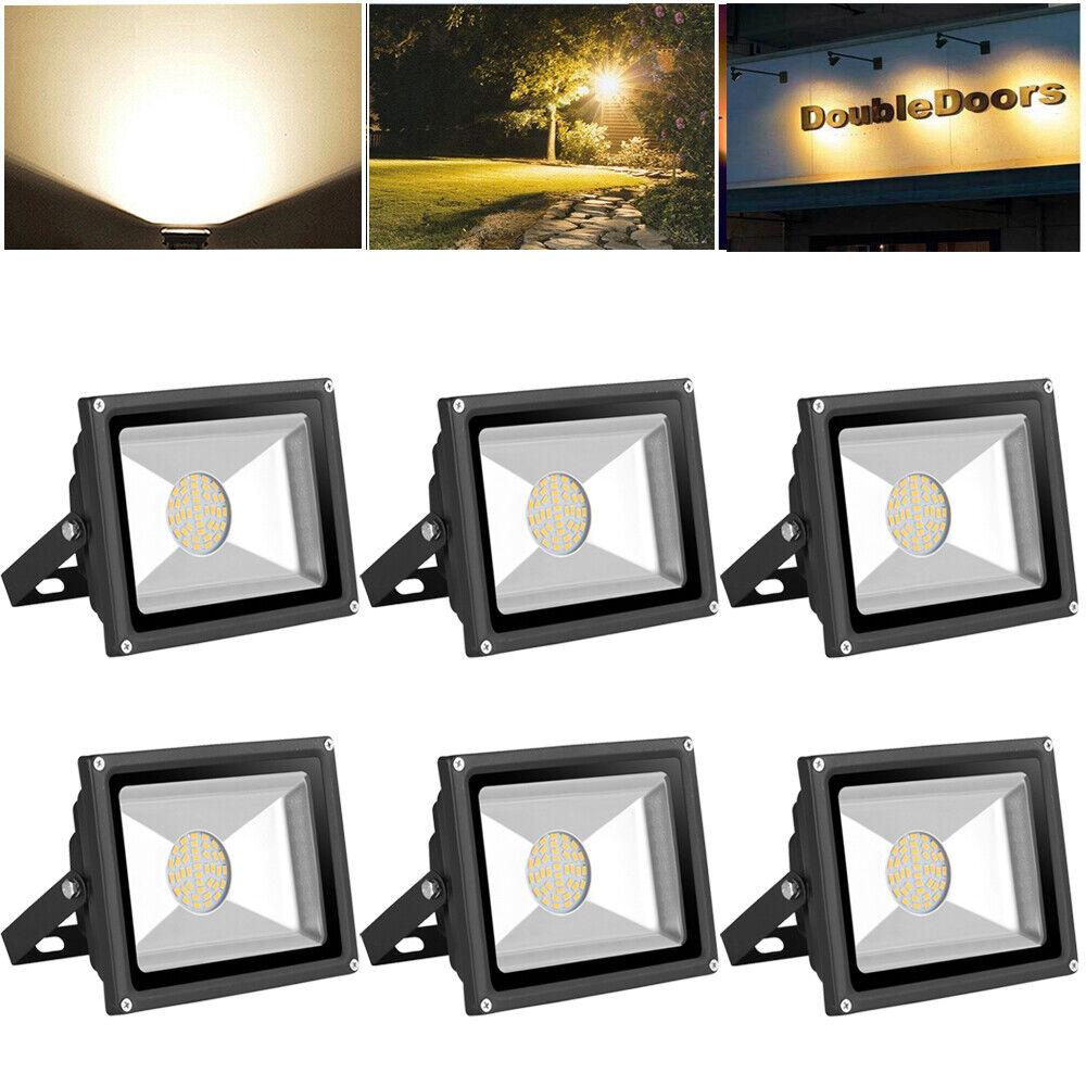 6X 30W LED Fluter Außen Strahler Flutlicht Scheinwerfer Warmweiß LED Lampe 220V