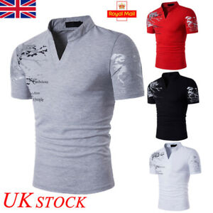 UK-Mens-Summer-Casual-Short-Sleeve-POLO-T-Shirt-Slim-Fit-V-Neck-Top-Work-Office