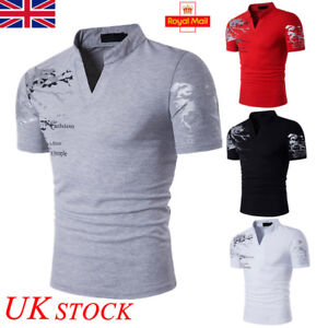 783cf5c30 UK Mens Summer Casual Short Sleeve POLO T-Shirt Slim Fit V Neck Top ...