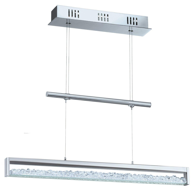 Colgante Cardito 1 cromo cristalino LED 24w Touch dimmer, regulable en altura