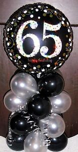 Image Is Loading FOIL BALLOON TABLE DISPLAY HAPPY 65th BIRTHDAY AGE