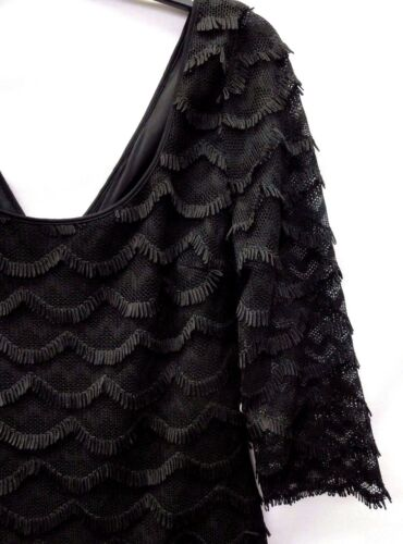 Guess Women/'s Fringed 3//4 Sleeves Lace Dress