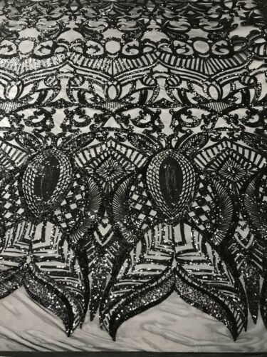 BLACK ROYAL DESIGN EMBROIDER SEQUINS ON A 4 WAY STRETCH POWER MESH-1YARD