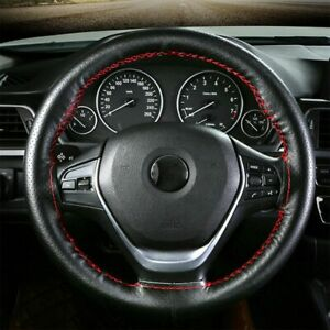 Car Black Leather Steering Wheel Cover DIY With Red Thread /& Needle Hand Sewing
