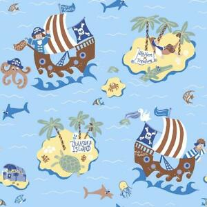 Boys-Blue-Pirates-Wallpaper-Skulls-Treasure-Island-Maps-Paste-Wall-Galerie