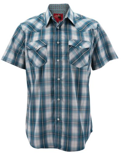 Rodeo Clothing Men/'s Western Pearl Snap Button Up Short Sleeve Plaid Dress Shirt