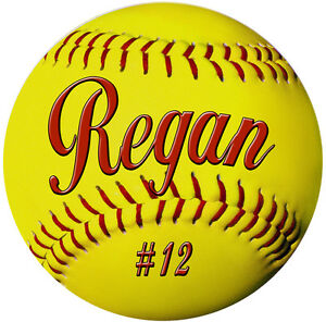 2-Softball-Decals-Bumper-Stickers-4-034-Personalize-Gifts-Girls-Boys-Teams-Sports