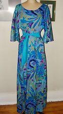 VINTAGE 60s -70s TWO POTATO *BLUE HAWAIIAN FLORAL PRINT CAFTAN MAXI DRESS*M