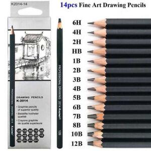 14 Piezas 6H-12B Bocetos Dibujo Caja de Lápices Esbozo Arte Kit en Funda