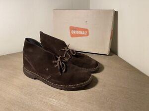 Clarks-Originals-Dark-Brown-Suede-Leather-Desert-Chukka-Boots-Men-039-s-Size-9-M