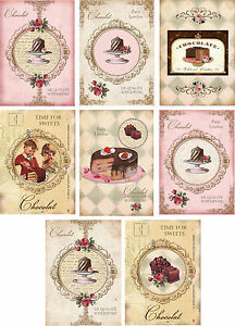 Vintage-inspired-Chocolate-card-set-tags-ATC-altered-art-set-of-8