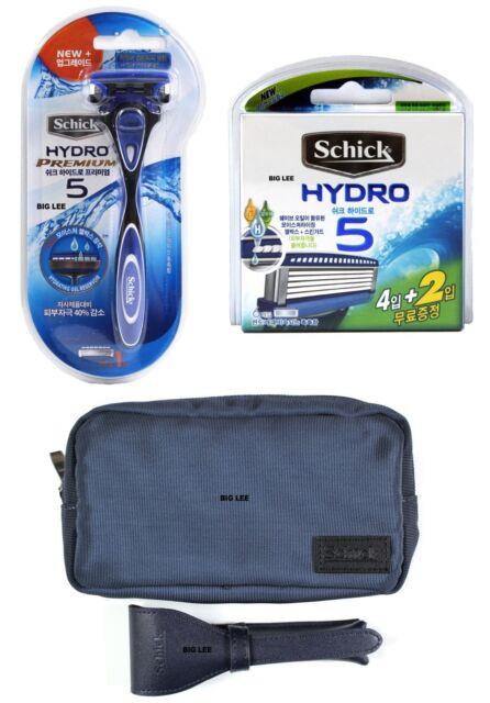 Schick Hydro Premium 5 1 Razor + Hydro 5 6 Cartridges Total 7 Blades + Pouches