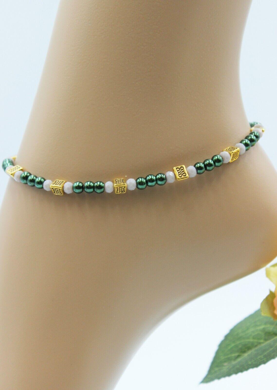 Glass Stone Jewellery XL Gold Anklet Chain Green Black Boho Hippie Elegant #K080