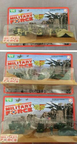3 Military Force Micro Figures Playsets Smart Toys 1998 Die Cast Metal /& Plastic