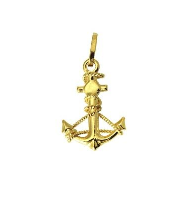 """14K Real Yellow Gold Small Anchor Puffed Hollow 3D Charm Pendant 15mm 9//16/"""""""