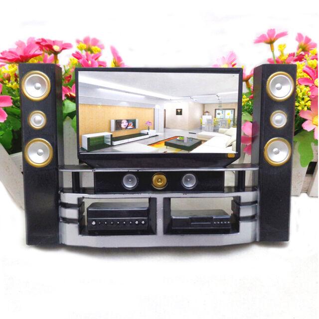 1 Pcs Mini Hi-Fi 1:6 TV Home Theater Cabinet Set Combo For Barbie Doll AU.