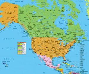 Usa And Canada Map North America For Gps Includes Hawaii And