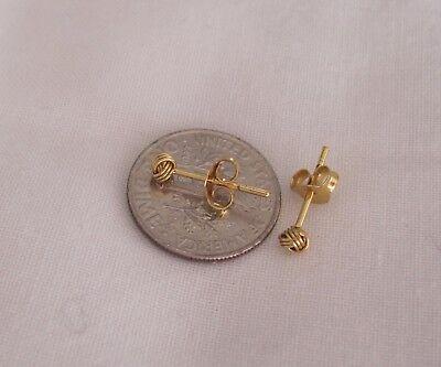 18K Gold Plated Sterling Silver Vermeil 3mm Love Knot Post Stud Earrings.