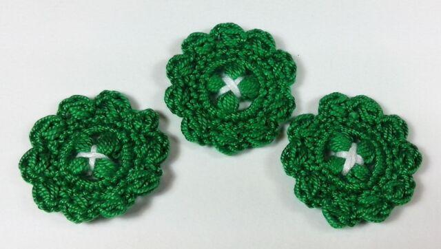 Bottoni a uncinetto per applicazioni / Set di 3 bottoni/color verdi
