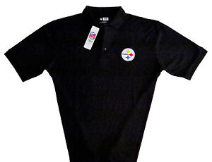 Nfl Team Apparel Pittsburgh Steelers Black Polo Shirt Mens Large Excellent Football-nfl