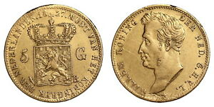 Netherlands-5-Gulden-1827-Brussel-Gold