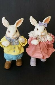 VINTAGE 1989 POSSIBLE DREAMS CLOTHIQUE EASTER GIRL& BOY RABBIT