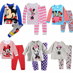 2Pcs Set Kids Boy Girl Outfit Clothes Mickey Long Sleeve Pyjama Nightwear Winter