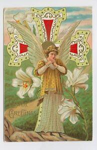 1910-VINTAGE-EASTER-POSTCARD-ORNATE-GOLD-FOIL-ANGEL-CROSS-RELIGIOUS