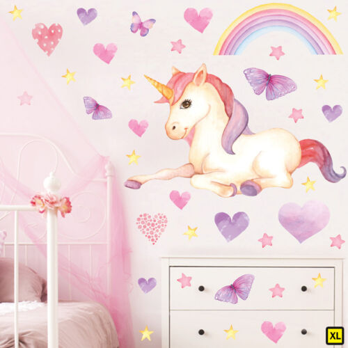 Magical Unicorn Horse /& Rainbow Stars Childrens Wall Stickers TwinkEySit Unic11