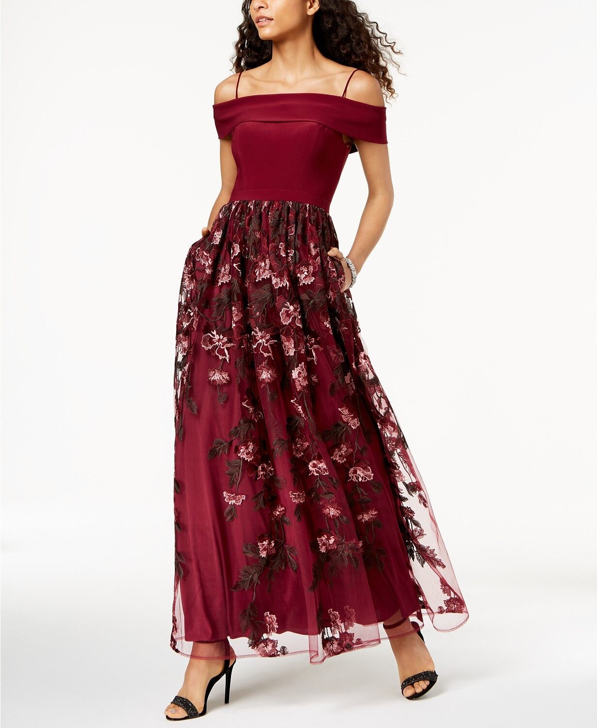 NIGHTWAY damen rot EMBROIDErot OFF-THE-SHOULDER GOWN DRESS Größe 4