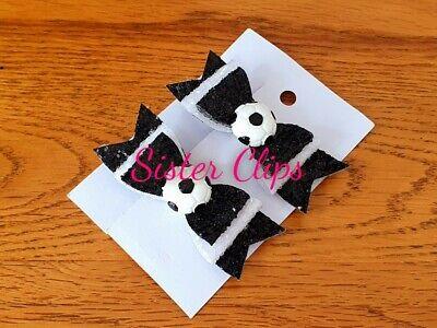 """Girls Handmade 2 football navy white Glitter Hair Bow Clips 2.5/"""" Tottenham spurs"""