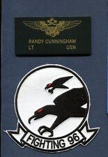 Randy Cunningham VF-96 FALCONS US NAVY F-4 PHANTOM Squadron Name Tag +Patch