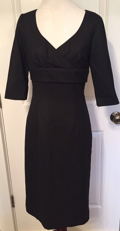 ETCETERA damen dress schwarz Empire Waist V-neck knee length Größe 4