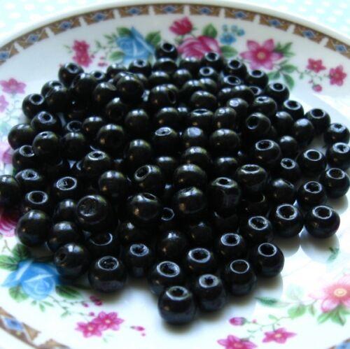 Bracelet Collier Lot 20-50 pièces Perle en bois Noir 8mm Creation Bijoux