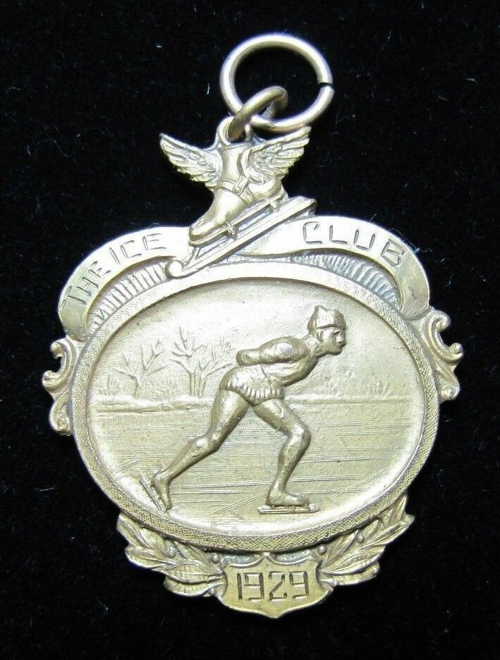 1929 DE ICE CLUB Ice Skating Medaille Charm Sports Award Dieges&Clust