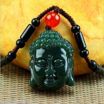 China 100% Natural Nephrite hetian Jade Rulai Buddha head Jade pendant necklace