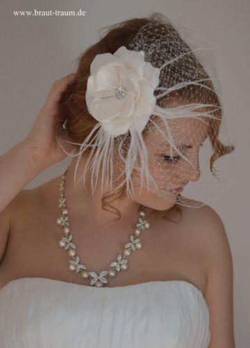 zum Brautkleid ivory zum  Brautstrauss Hochzeit Braut Schleier Fascinator